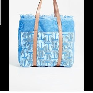 Tory Burch Blue French Terry Tote Bag